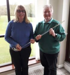 Kath Stavers and the winner of the Charity Putter, Cath Oxley