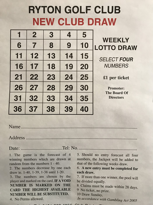 Ryton Lotto Draw