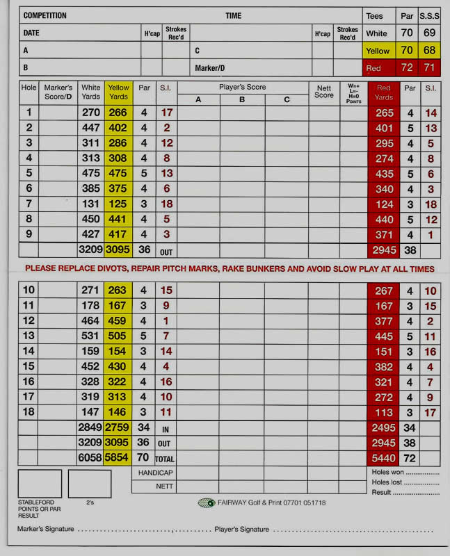Ryton Golf Club Scorecard 2017
